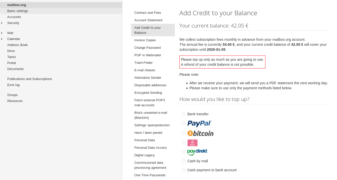 Add credit to your balance